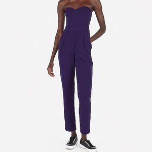 New express strapless jumpsuit purple size 8